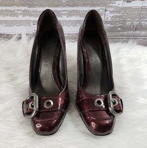 Rampage Red Wine Colored Buckle Pumps
